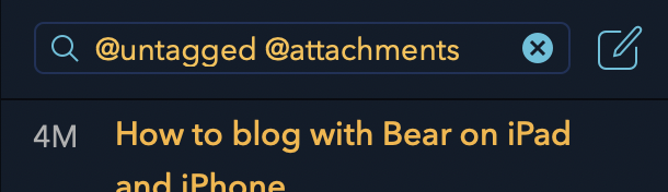 An example of using Smart Search triggers in Bear's search box