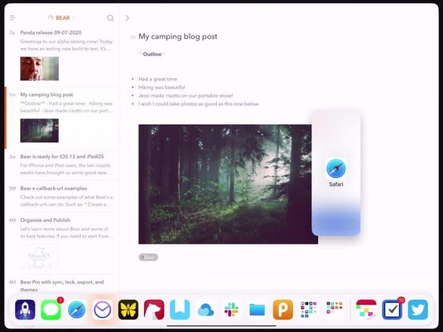 Bear iPad Slide Over demo