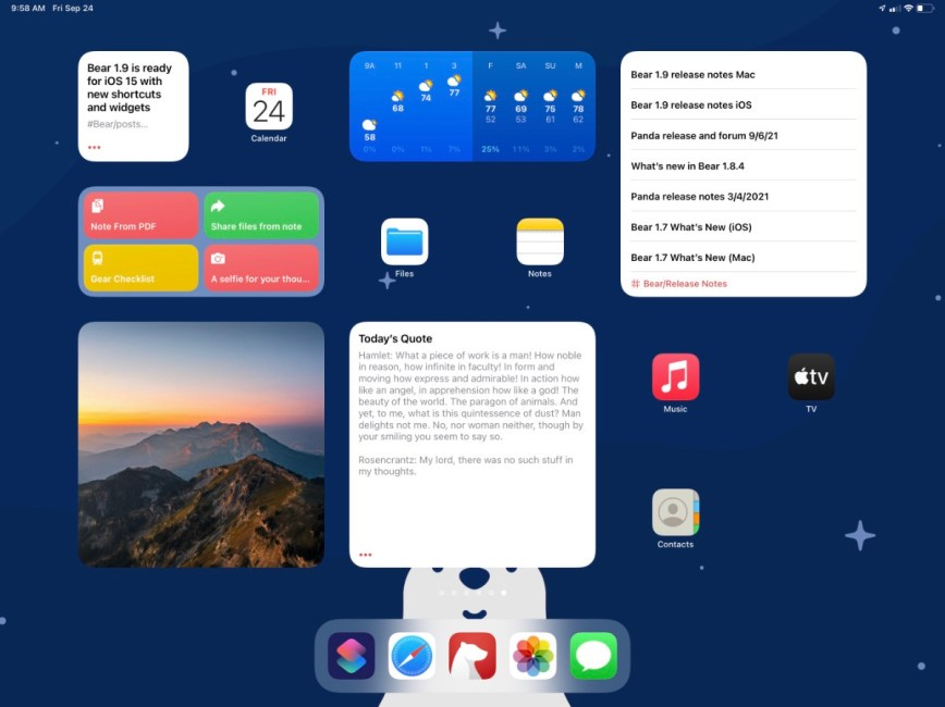 Bear 1.9 is ready for iOS 15 with new shortcuts and widgets